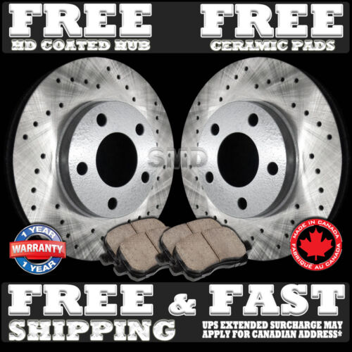 P0110 FIT 1994 1995 Ford Mustang Base GT FRONT Drilled Brake Rotors Ceramic Pads