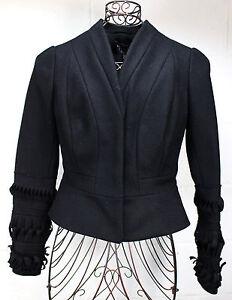 $840 ROBERTA FURLANETTO Black Wool Cashmere Woven Origami Jacket Blazer Coat S