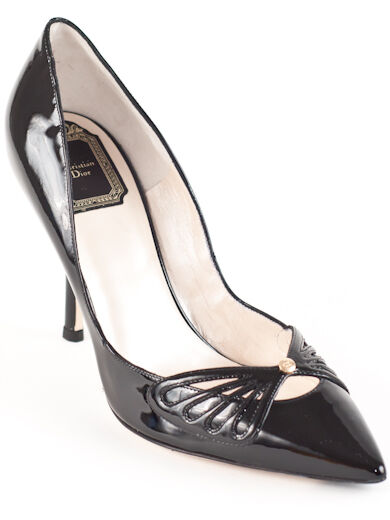 New  Christian Dior Butterfly Black Patent Leather Pumps  39 US 9