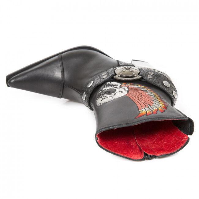 Newrock Bull 006-S1 nueva señoras de cuero negro Botas al Tobillo ala cráneo Biker Vaquera