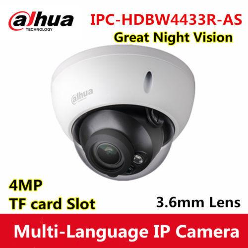 Dahua IPC-HDBW4433R-AS 3.6mm  4MP POE Dome Camera with Audio I//O TF card slot