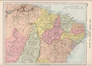 Details about 1923 MAP ~ SOUTH AMERICA ~ UNITED STATES OF BRAZIL BAHIA  MARANHAO PIAUHY