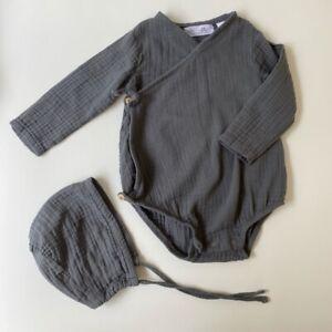 Zara Baby 6-9 Months Grey Textured Wrap Romper Bodysuit ...