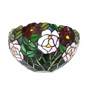 Htdeco-Applique-Tiffany-avec-un-style-floral-Lampe-de-table-et-de-chevet