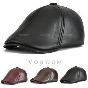 Casquette-de-lierre-en-cuir-pour-hommes-chapeau-en-cuir-reglable-hiver-Beret