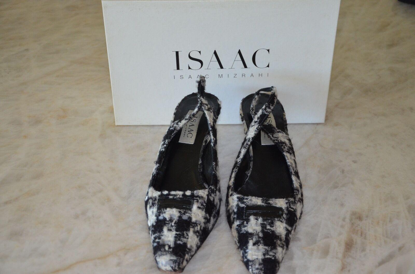 ISAAC ISAAC MIZRAHI Banter Tweed Fabric Wool Slingback Kitten Heel 8.5