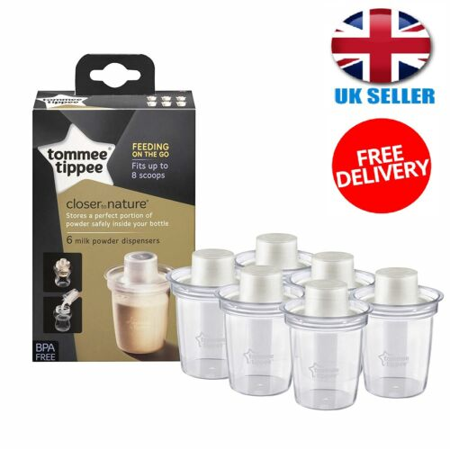 Tommee Tippee Milk Powder Dispensers Baby Safe Bottle Container Travel Pack of 6