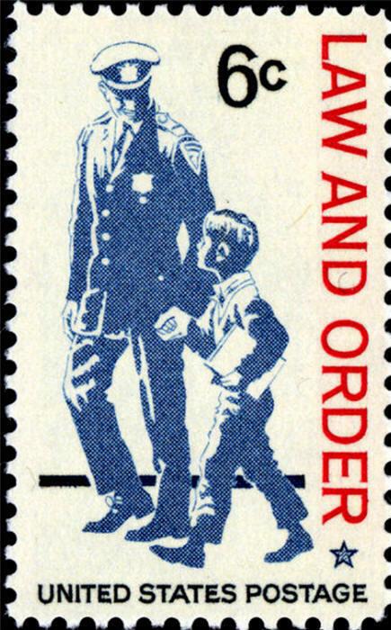 1968 6c Law & Order, Policeman & Child Scott 1343 Mint