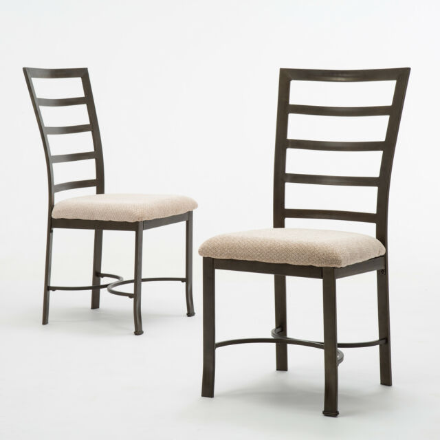 2pcs Metal Frame Dining Chairs With Tilted Back And Comfortable Cushion Seats