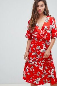 d82a4e5dbc7 Image is loading Ladies-039-Red-Silky-Floral-Wrap-Dress-from-