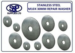 QTY 30 M10 X 30mm PENNY MUDGUARD REPAIR WASHERS STAINLESS STEEL GRADE A2