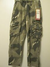 Quicksilver Army Green Camouflage Cargo Khaki Long Pants Sz 22 Waist 5 6 7 8 NWT