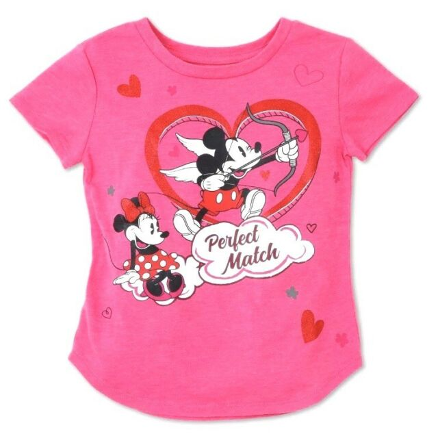 9b3c0c75e DISNEY Toddler Girls' Minnie & Mickey Perfect Match Valentine's Day Tee -  Pink