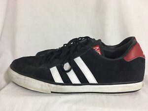 Adidas Neo skate hombre de para talla Zapatillas blancas de 12 negra rayas gamuza con w6EHx4