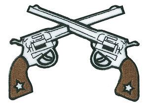 Ecusson-patche-PISTOLEROS-thermocollant-applique-patch-guns-brode