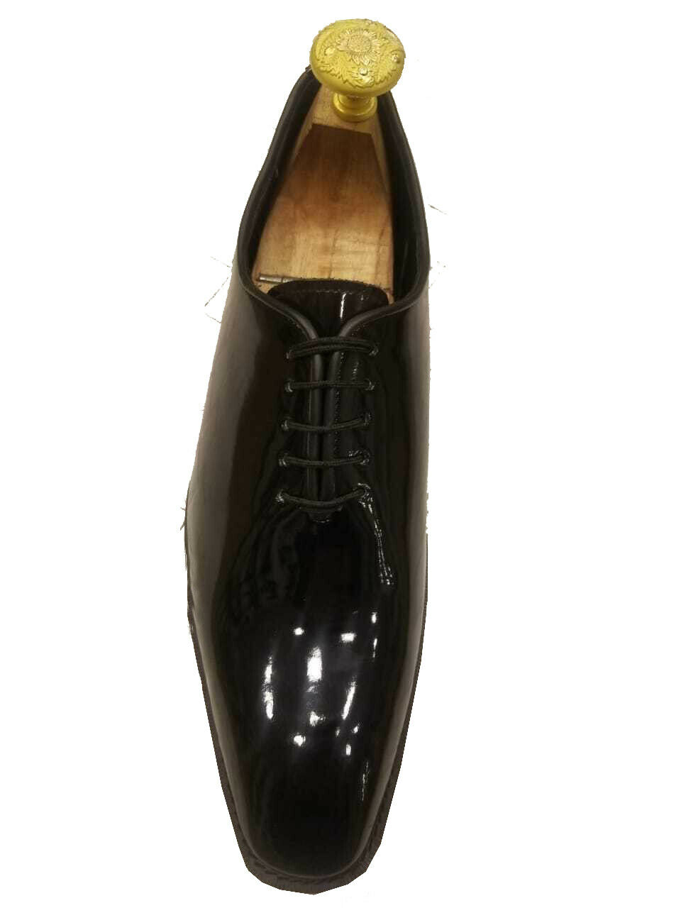 Mens Handmade shoes Genuine Patent Leather Tuxedo Lace Up One Formal Dress Boots