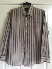 Mens Dockers long sleeved shirt Striped. Size XL. Greys & Fawn.