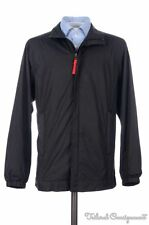 PRADA Black Solid Polyester Full Zip Windbreaker Jacket Coat Hat TG 48 / MEDIUM