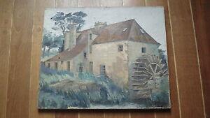 Tableau-ancien-grande-peinture-XIXe-Barbizon-huile-sur-toile-Vieux-moulin-a-eau
