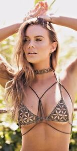 Gold-Chain-Women-039-s-Bohemia-Jewelry-Bikini-Bust-Body-Triangle-Shining-Bra-A37a
