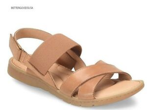 BORN-women-ZINNIA-SANDALS-Elastic-Straps-Low-Heel-F45416-Leather-Luggage-TAN-11