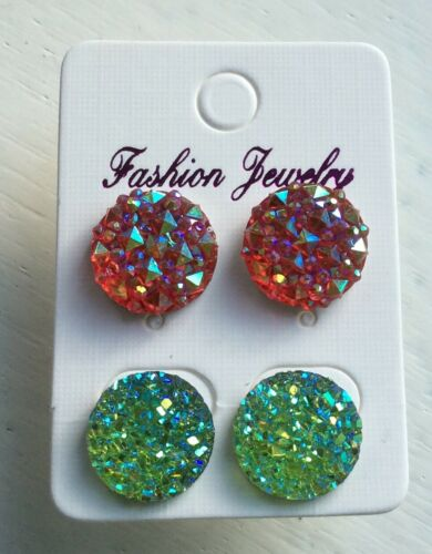 Pequeño Brillante Rojo Y Verde Ab Cristal Diamante Estrás Pendientes De Navidad