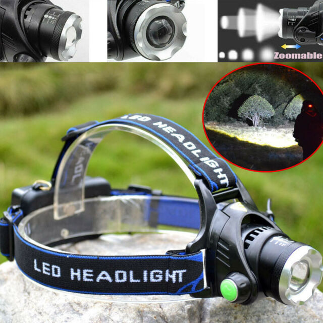 Zoomable 90000LM T6 LED Headlamp Headlight Flashlight Head Torch 18650 Camping