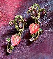 NEW SWEET ROMANCE ART NOUVEAU FRUIT SALAD LEAVES OF GLASS PIERCED EARRINGS