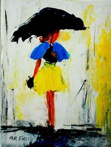 PEINTURE TABLEAU Boulevards acrylique s/toile signé Maria TINOCO cotation AKOUN