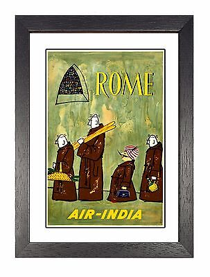 Rome Vintage Airline Advert Print Old Colourful Photo Retro Poster Air India