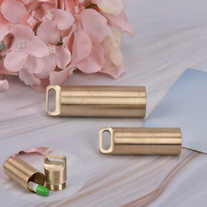 Bottle-Holder-Brass-Waterproof-Container-Keychain-Medicine-Capsule-Pill-Box-DD