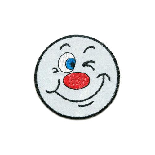 Bügelbild FUN Gesicht Smile Happy Face Reflex Ø7,3cm grau Aufnäher