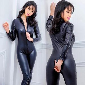 Women-s-Latex-Wet-Look-Jumpsuit-Leather-Catsuit-Close-fit-bodysuit-Rompers-CPEV