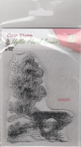 Clear //Stream and Bridge Scene //Tree//UNMOUNTED Nellie Snellen stamp IFS011
