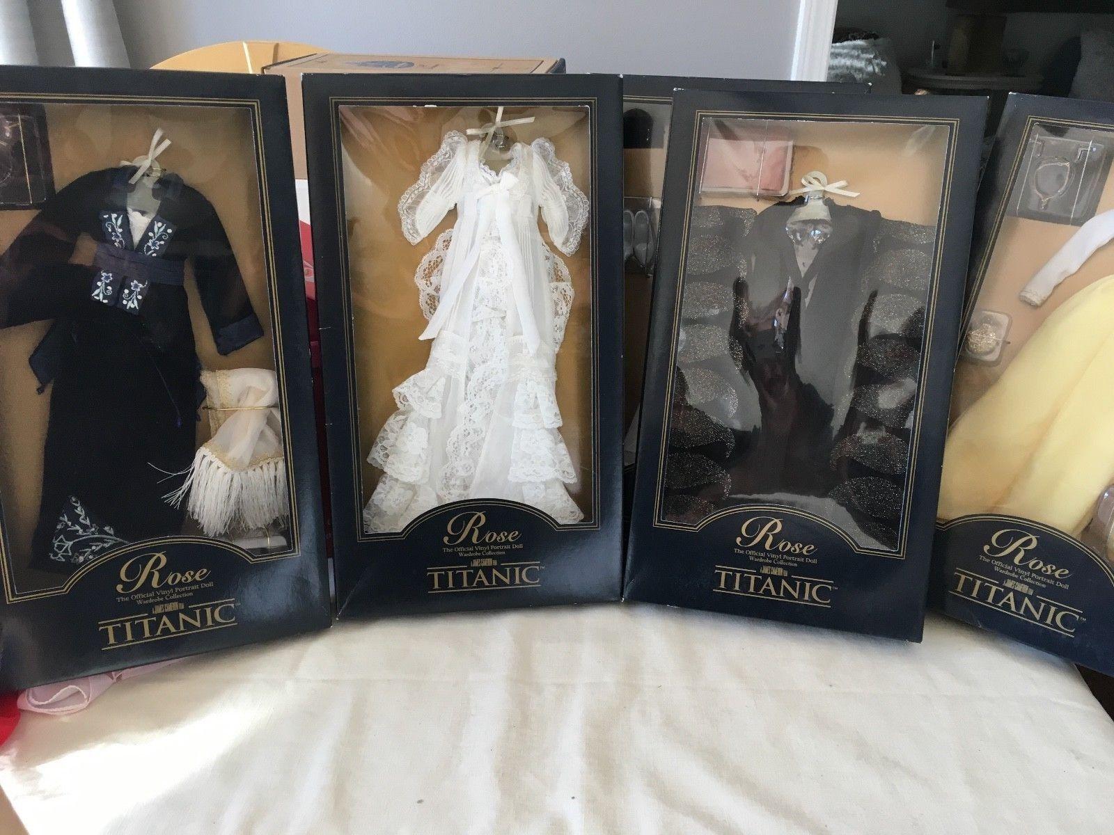 Lote de 4 Franklin Mint Titanic rosado conjunto de muñeca de vinilo de 16  Set todos trajes nunca quitado de la caja