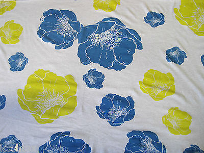 Cotton Fabric Jersey Knit by the Yard Flower Print Blue Yellow