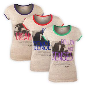 Womens Ladies Slub Effect T-Shirt Short Sleeve Graphic Straight Hem Casual Top