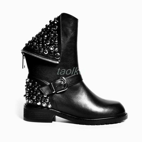 Rivet Womens Zipper Punk Rock Studs Leather Motorcycle Back Zipper Womens Ankle Boots Shoes sz b1575d
