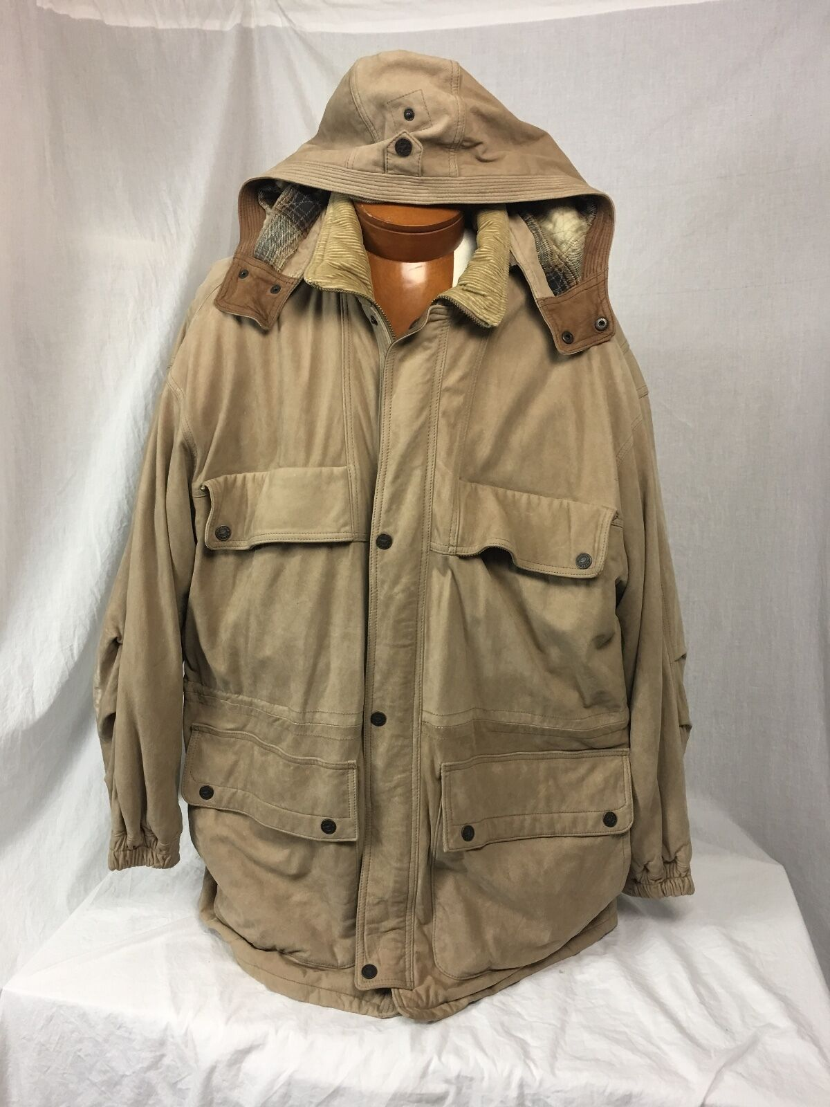 FIELD & STREAM  Distressed Cow Skin & Quilted Cotton Field Coat w/Hood XL