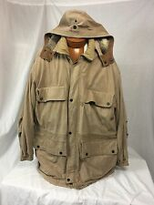 * FIELD & STREAM * Distressed Cow Skin & Quilted Cotton Field Coat w/Hood XL