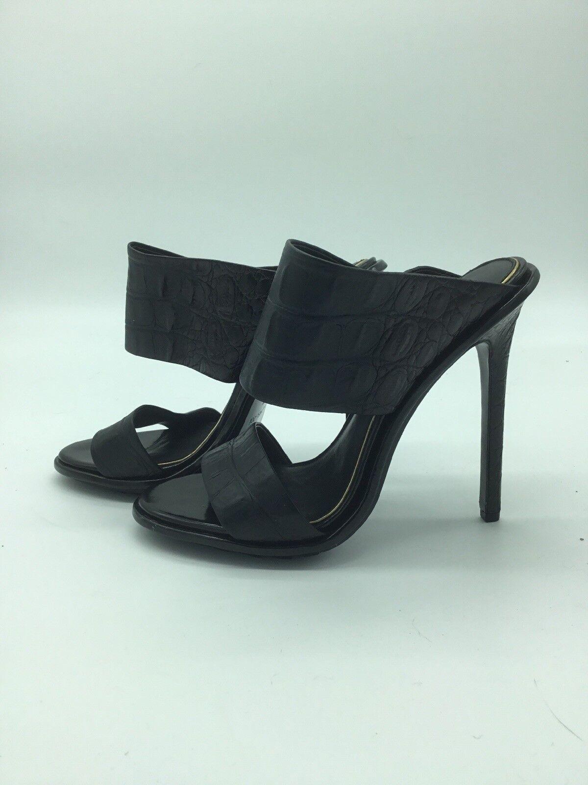 New Rachel Zoe Leather Open Toe Strap Heels Black 9.5