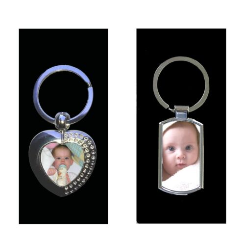Personalised custom Printed Engraved Metal Keyring Photo /& text in Gift box
