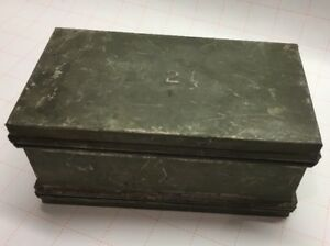 """Very Unique Vintage Two Sided Lid Metal Tin Box Marked """"2"""" 6 1/2"""" X 3 1/2"""" X 3"""""""