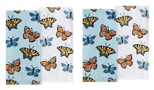 Celebrate Spring Together Kitchen Dish Towels BUTTERFLY TERRY 4-Piece Set NEW