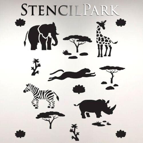African Safari Animals Kids Reusable Craft Stencil Walls Furniture A5 A4 A3 188