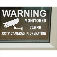 4 x Large CCTV Camera Security Warning Window Stickers-Monitored Operation Signs
