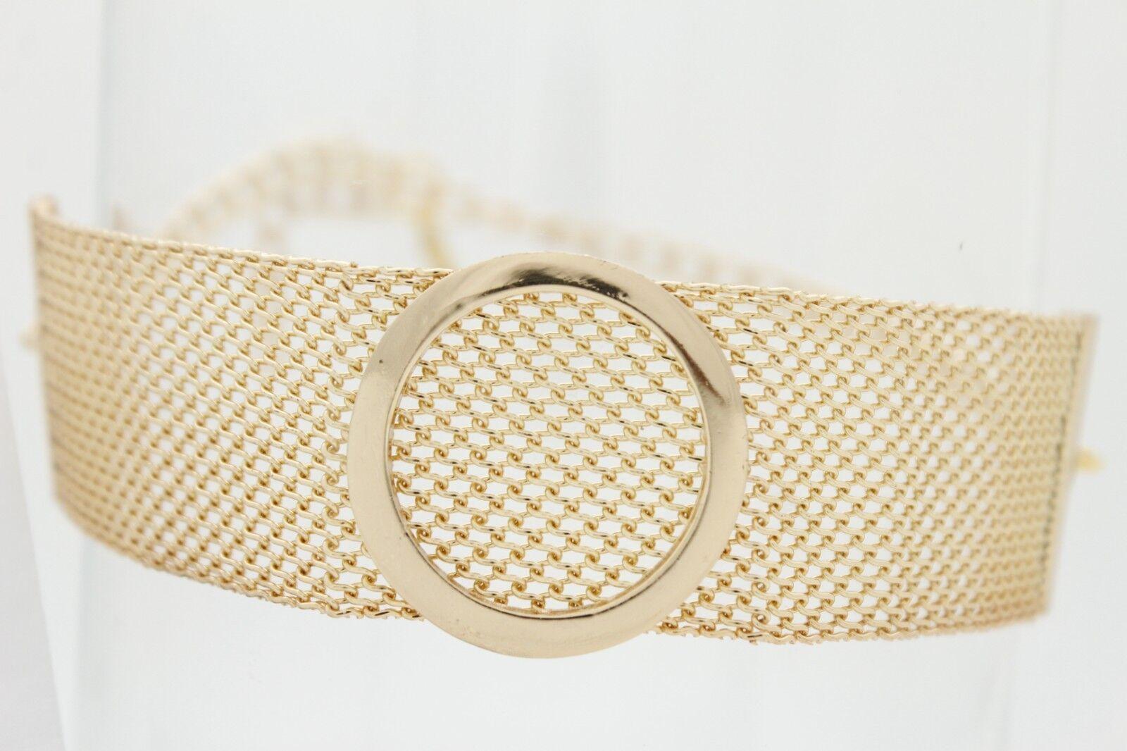 Women Gold Fancy Metal Chain Boot Bracelet Strap Shoe Charm Wide Strap Circle