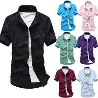 Stylish Mens Boys Casual T-Shirt Short Sleeve Slim Fit Dress Polo Shirts Tee Top