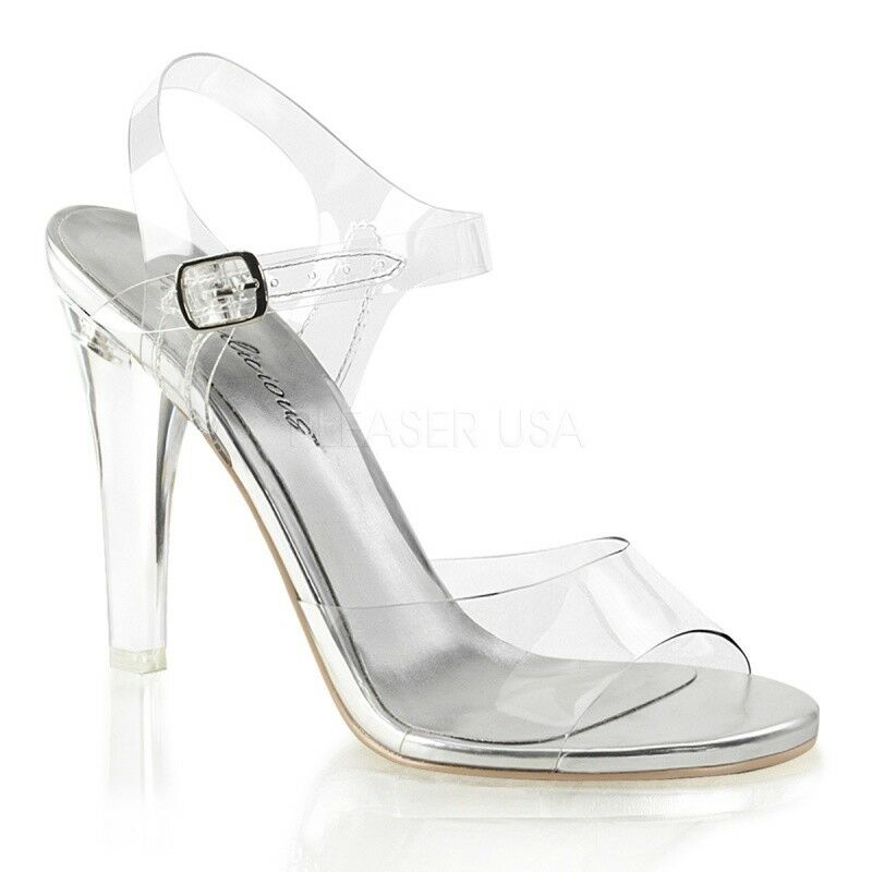 FABULICIOUS CLEARLY-408 Micro-Plateau Sandalette Transparent Tabledance Gogo ...