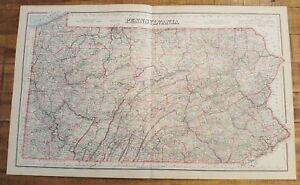 Antique-Colored-MAP-Gray-039-s-PENNSYLVANIA-The-National-Atlas-1893